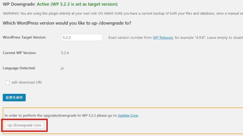 wordpress downgrade03